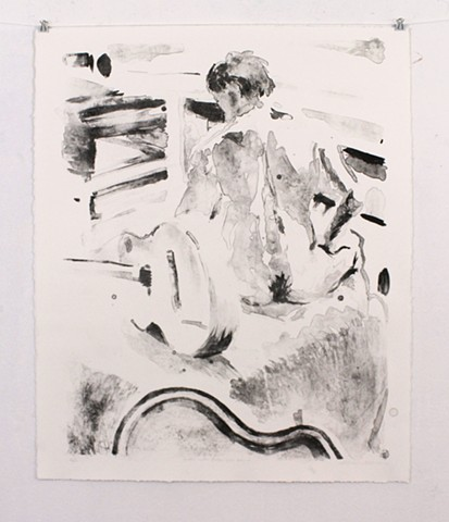 "Justin with Guitar from Behind (First State). 26 ¾"" x 22.5"" Lithograph on Reeves BFK. 2013. by Catherine Cole. Print, printmaking, litho, lithographic, nude, nude male, guitar, guitar case, sitting, back, back hair, tusche, tusche wash, ink, ink wash, RIS"