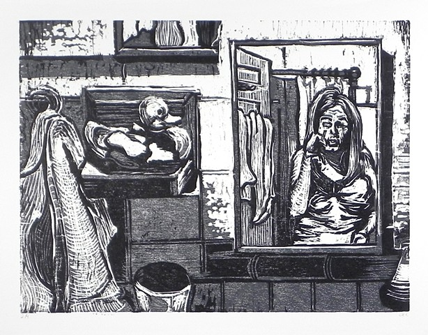 "Morning Routine. 22.5 x 15"". Reductive Woodcut. Relief Print. October 2009."