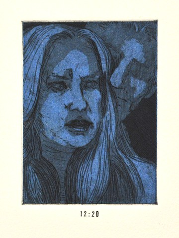 Girls Night Out Suite. 12:20. 12:20pm. Etching and Aquatint. Intaglio Print. December 2012. Self Portrait. Catherine Cole.