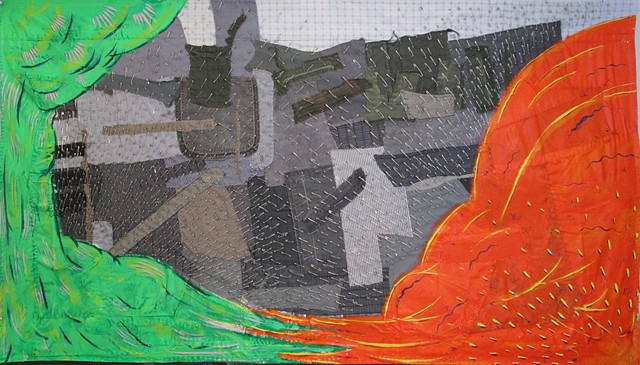 Mixed Media fabric Painting with safety pins