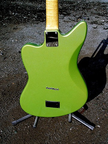 Fender Electric XII Custom Light Show in Prismatic Lime Green--Close Up of Back Showing String Thimbles and Battery Box