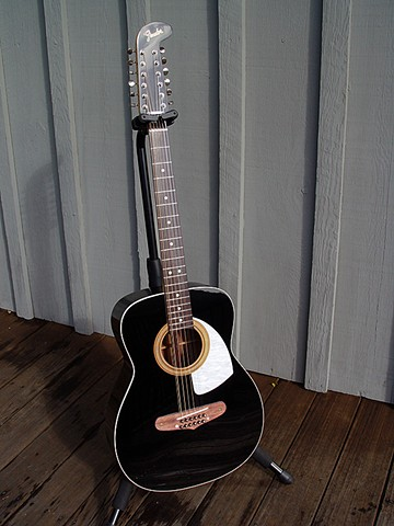 Fender 1968 Villager 12-String in Piano Black--Full-Length Portrait with Pearl Acrylic Pickguard