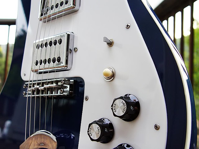 Rickenbacker 481 Azureglo Slant Fret Restoration--Close-Up of Pickups and Controls