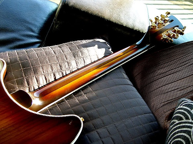 Rickenbacker 380L 12-String Conversion--Back Detail Showing Checkerboard Purfling, Shaded Finish, Gold Hardware