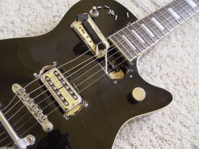 Gretsch Custom 120th Anniversary Pro Jet--As Purchased: Pickup Hole Hacks Done With Pen Knife, Hidden Under Bezel