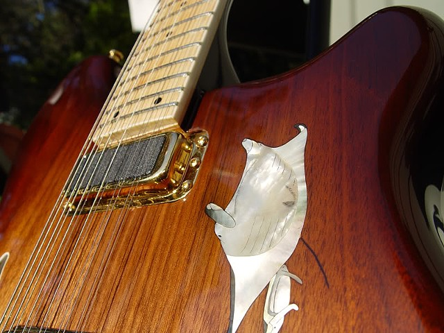 Rickenbacker 380L 12-String Conversion--Close Up of Neck Pickup and Manta Ray Inlay