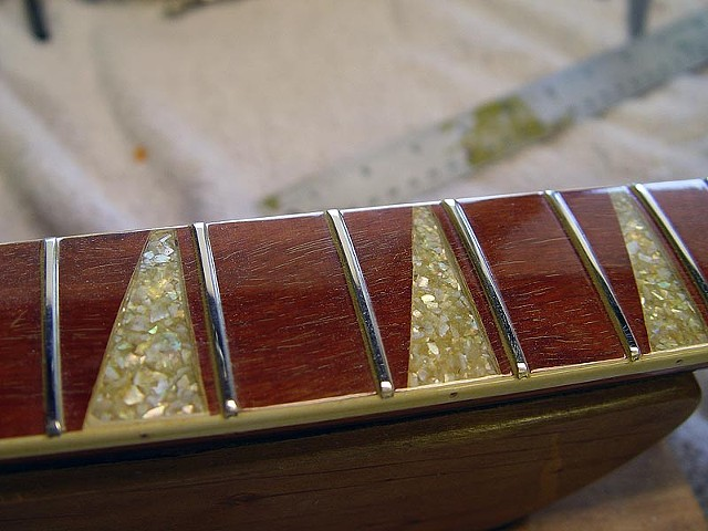 Rickenbacker 1967 360/12 Restoration--Detail of New Fretboard