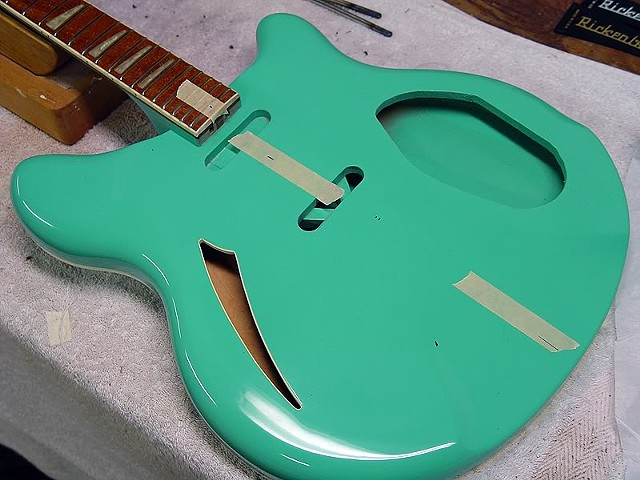Rickenbacker 370/12 Sea Green With Piezo Pickup--Laying Out the Locations for Pickups, Bridge Plate, and Tailpiece Anchor