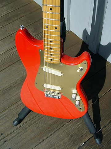 Fender Duo-Sonic Custom Build in Fiesta Red--Slab Body Construction Seen