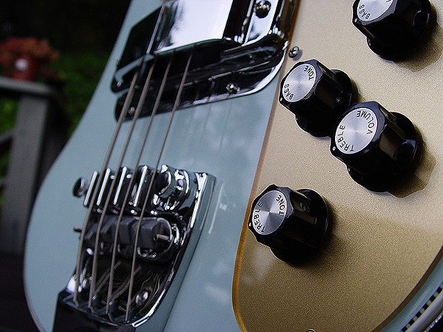 Rickenbacker Blue Boys--'72 4001--Detail of Bridge and Controls