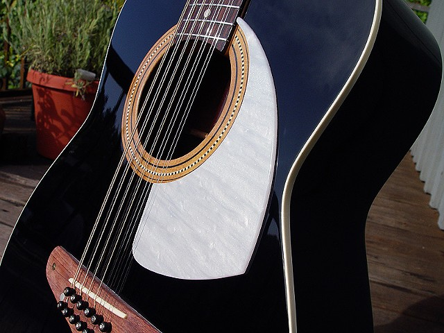 Fender 1968 Villager 12-String in Piano Black--Detail of Top: Mirror-Smooth Piano Black Finish