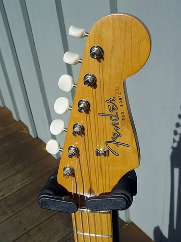 Fender Duo-Sonic Custom Build in Fiesta Red--Headstock Close Up: Budget Kluson Tuners, Vintage Headstock Decal