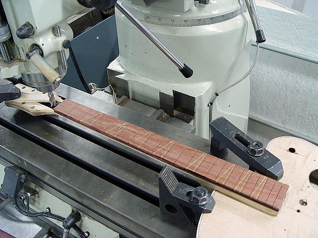 Rickenbacker 360F in Jetglo--Readying New Fretboard for Gluing and Fret Markers