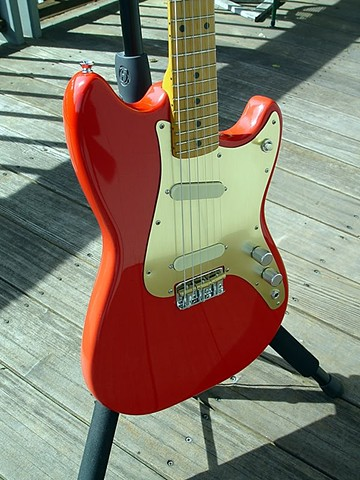 Fender Duo-Sonic Custom Build in Fiesta Red--Fiesta Red, Gold Aluminum Pickguard in Shade