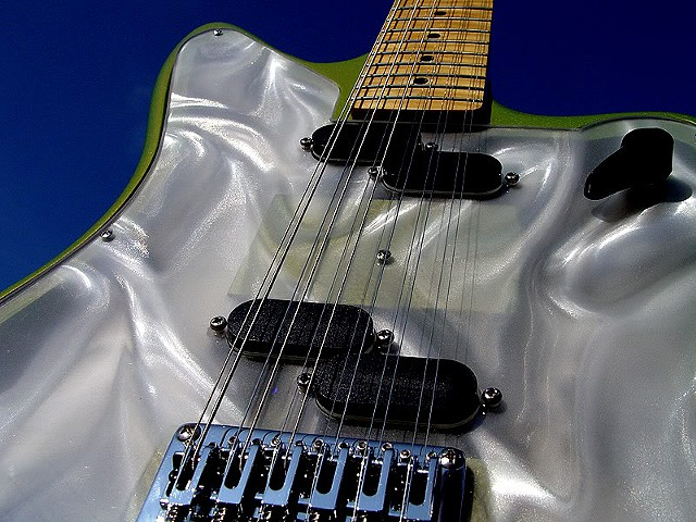 Fender Electric XII Custom Light Show in Prismatic Lime Green--Worm's Eye View of Front