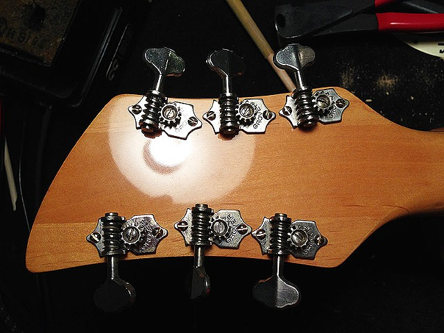 Back of Restored Headstock with Detailed Original Grover Tuners