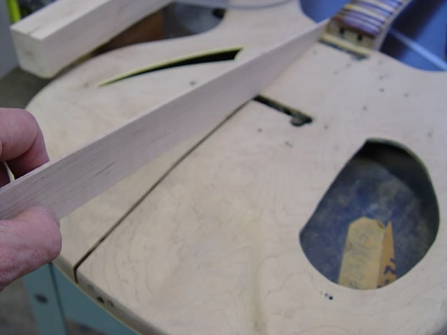 Rickenbacker 1968 366/12 Restoration--Raw Spline Checked for Fit Before Marking