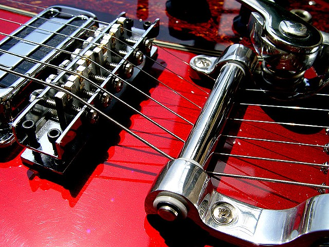 Rickenbacker Custom 430 in Transparent Cherry--Close Up of Vibrato and Roller Bridge