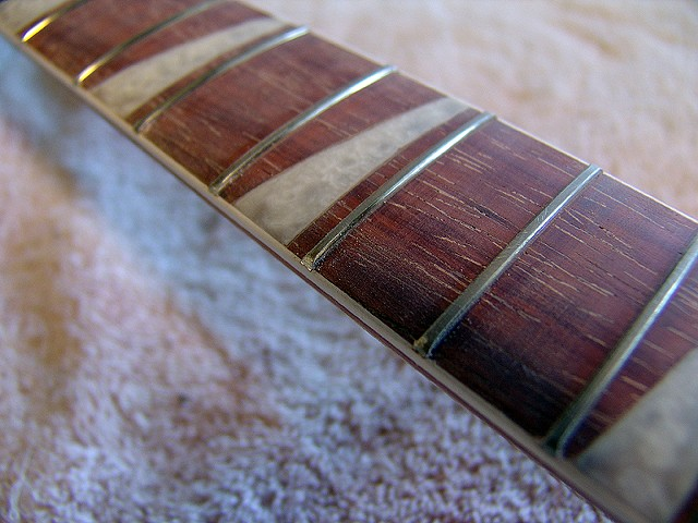 Rickenbacker 1961 365 Capri--Closeup of Completed Fretboard Before Varnishing