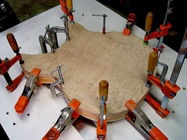 Rickenbacker 381 Custom--Gluing Rough Cut Top to Body for Shaping