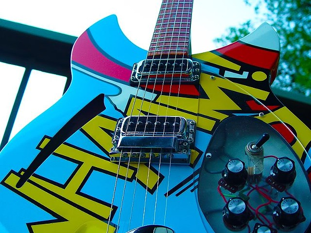 Rickenbacker 330 WHAAM! Paul Weller Replica--Low Angle View of Completed Guitar
