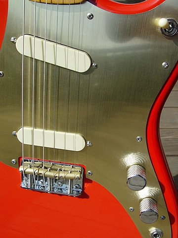 Fender Duo-Sonic Custom Build in Fiesta Red--Extreme Close Up of Pickguard