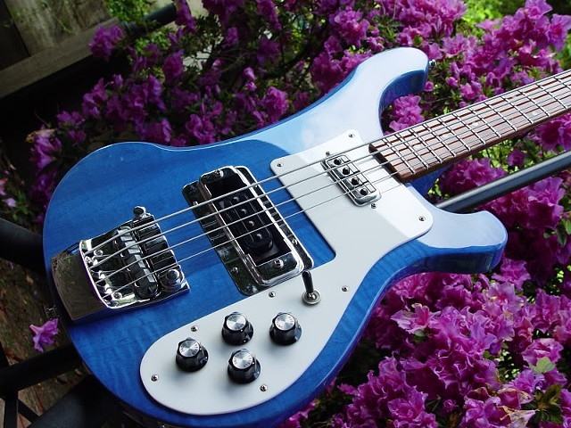 Rickenbacker Bass--Transparent Blue 4003S--Reflections on Front
