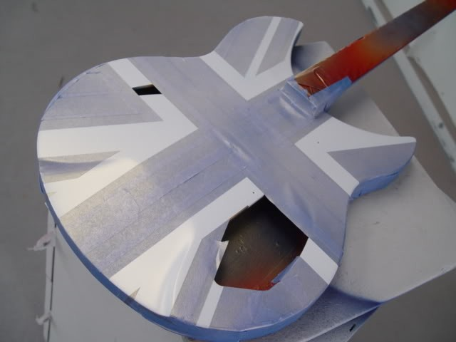 Rickenbacker 340 Classic Union Jack Refinish--Adding a Gold Pearl to the White Graphic