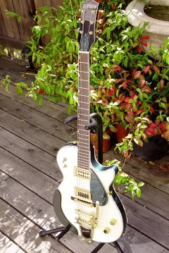 Gretsch Custom Hollow-Bodied Pro Jet: Finished Guitar with Custom-Engraved Pickguard and Truss Rod Cover, Green Alligator Padded Armrest