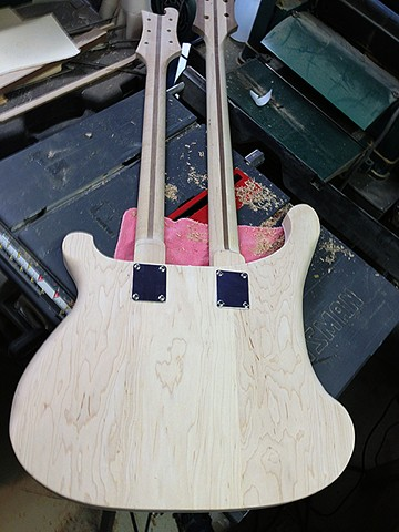 Rickenbacker 4080/6 for Al Cisneros of Sleep and Om--Necks Screwed into Place, Checked for Fit and Intonation