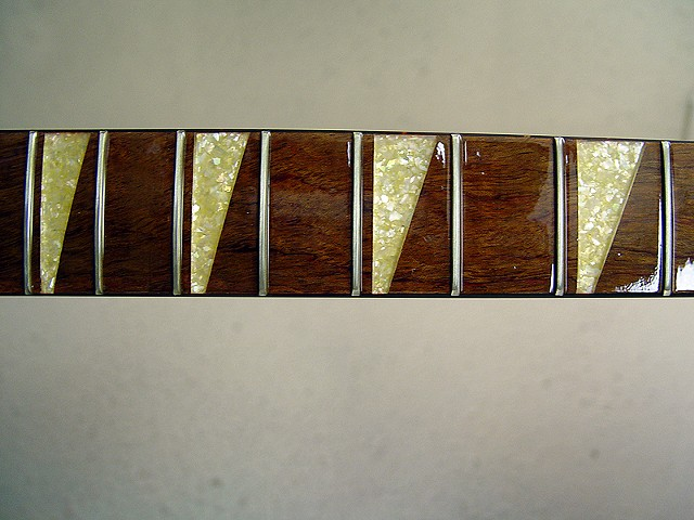 Rickenbacker Acoustic--700C/6 Mapleglo--Fretboard Showing Crushed Pearl Markers, Before Buffing
