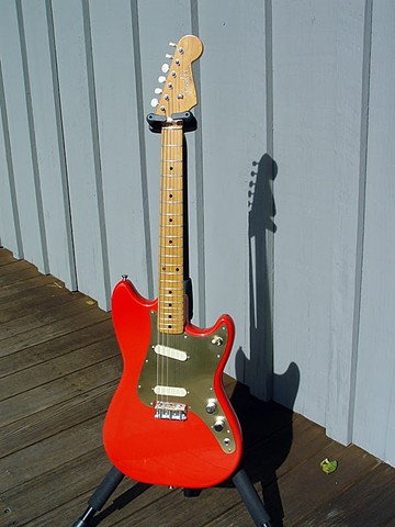 Fender Duo-Sonic Custom Build in Fiesta Red--Full-Length Portrait