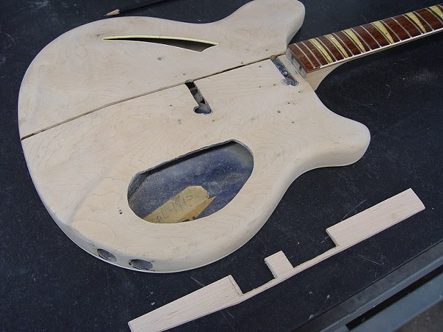 Rickenbacker 1968 366/12 Restoration--Trimmed and Relieved Spline and Its Slot Before Gluing