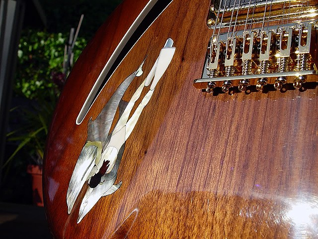 Rickenbacker 380L 12-String Conversion--Detail of Bound Sound Hole and Diver Inlay