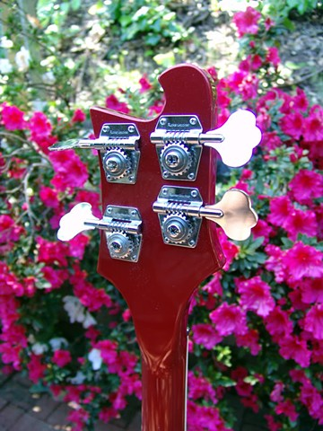 Rickenbacker 4001 Bass--Ruby with Checkerboard--Back of Headstock