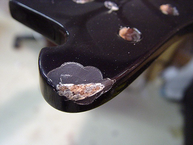 "Chris Squire's ""Fish Out Of Water"" Rickenbacker 4003 Bass Restoration--Damage on Top of Headstock"