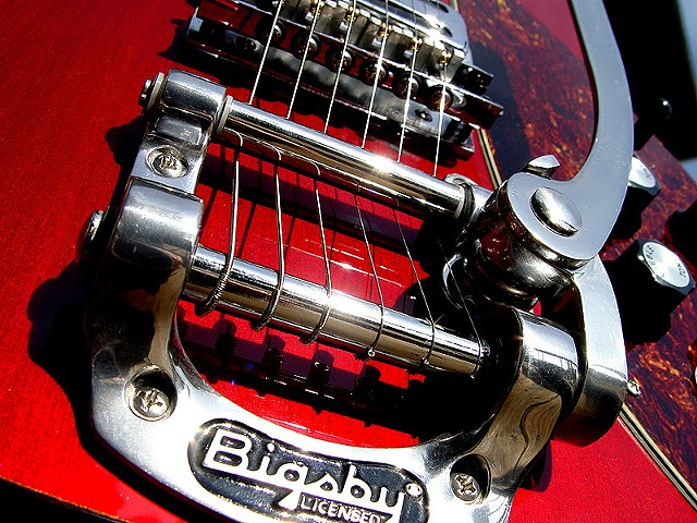 Rickenbacker Custom 430 in Transparent Cherry--Detail of Bigsby B5 Vibrato