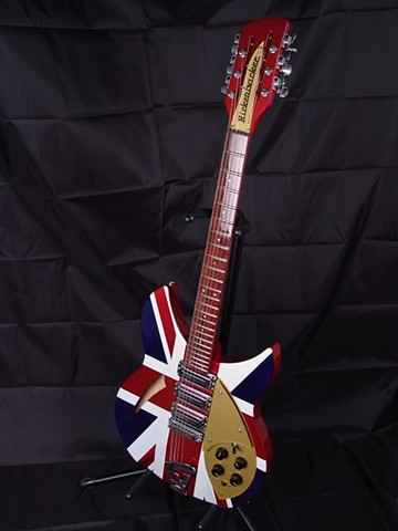 Rickenbacker 340 Classic Union Jack Refinish--Full-Length Portrait With Gold Pickguards