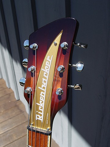 Rickenbacker 381 Custom--Detail of Headstock and Checkerboard-Bound Fretboard