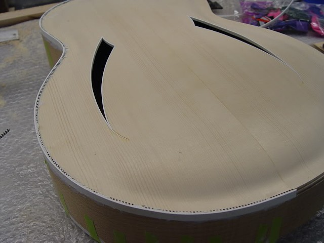 "Rickenbacker ""Jazzbo"" 760J--Body Glued Up, Routed, Binding and Purfling Being Glued"