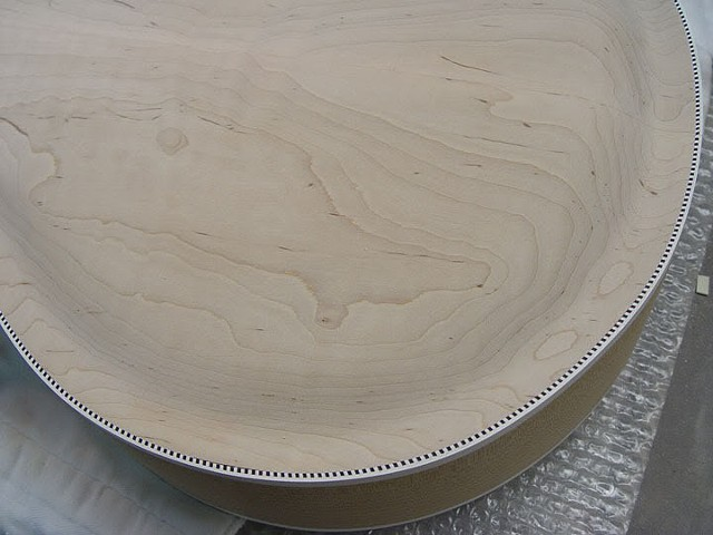 "Rickenbacker ""Jazzbo"" 760J--Detail of Fine-Sanded German Carve Maple Back"