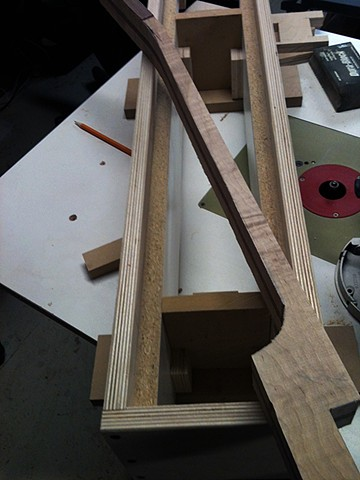 Rickenbacker 381 Custom--Rough-Cut Neck Blank Rests on Truss Rod Routing Jig