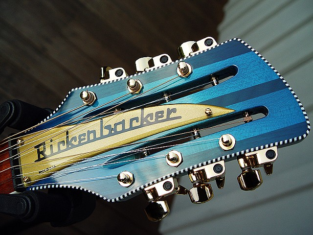 "Rickenbacker Acoustic--730L/12 ""Tumon Bay""--Close Up of Bound Headstock with Gold Nameplate"