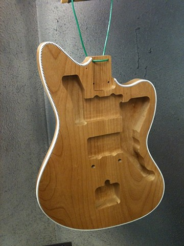 Fender Custom Jazzmaster with Binding and Transparent Cherry Shaded Finish--After Binding and Purfling are Leveled with Top, Body is Sealed for Paint