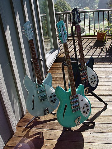 Rickenbacker 1998, 370/12, 340 SF--Trio with Sun at Their Backs