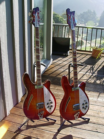 Rickenbacker 4005 and 4005/8--Full-Length Portrait--Fireglo in Shade