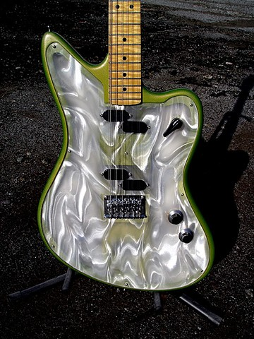 Fender Electric XII Custom Light Show in Prismatic Lime Green--Close-Up of Front Showing Light Panels