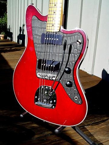NEW Fender Jazzmaster Build--Bound with Transparent Cherry Finish--Close Up of Front with Subtle Shading