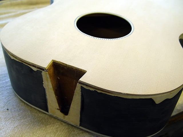 Rickenbacker 700C/6 Jetglo Reconstruction--New Top Glued in Place, Prepped for Neck and Sealer