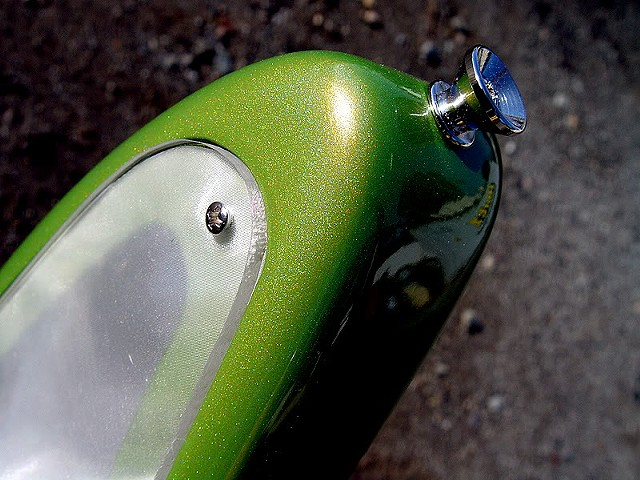 Fender Electric XII Custom Light Show in Prismatic Lime Green--Extreme Close Up of Prismatic Finish on Bass Horn